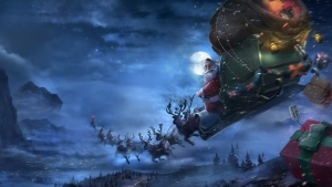 schlitten geschenke rentiere santa claus fliegen weihnachten