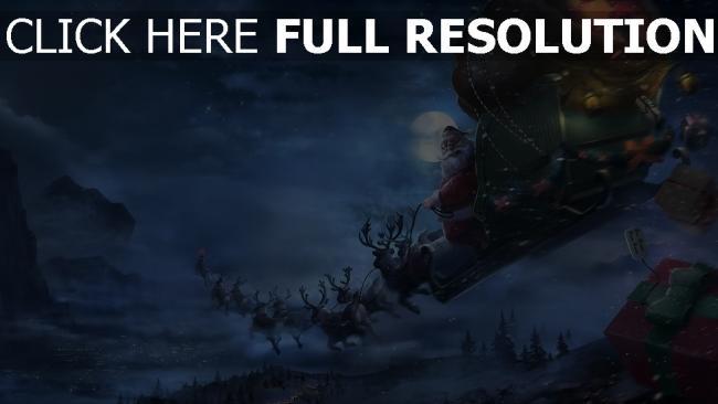 hd hintergrundbilder schlitten geschenke rentiere santa claus fliegen weihnachten