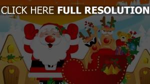 schlitten zu hause rentier weihnachtsmann geschenke feiertag weihnachten