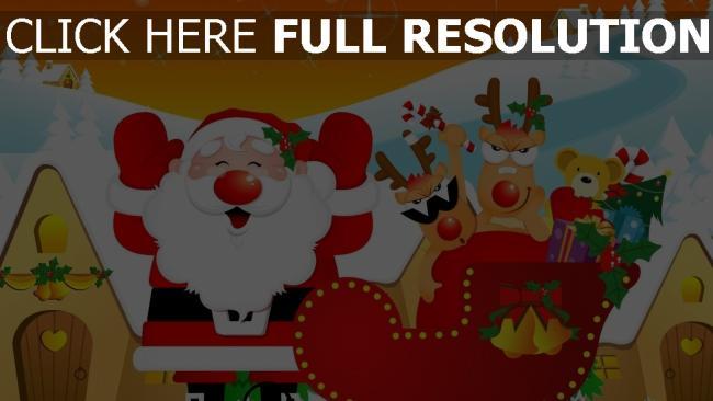 hd hintergrundbilder schlitten zu hause rentier weihnachtsmann geschenke feiertag weihnachten