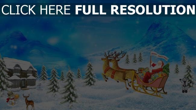 hd hintergrundbilder weihnachten ren neues jahr weihnachtsmann geschenke
