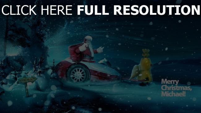 hd hintergrundbilder weihnachtsmann nacht weihnachten neujahr schneesturm geschenke inschrift
