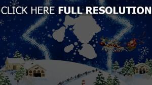 karte rentier weihnachten neujahr stern weihnachtsmann bunt fliegen