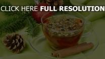 tasse zweig zimt tee kegel tanne weihnachten kugel neues jahr