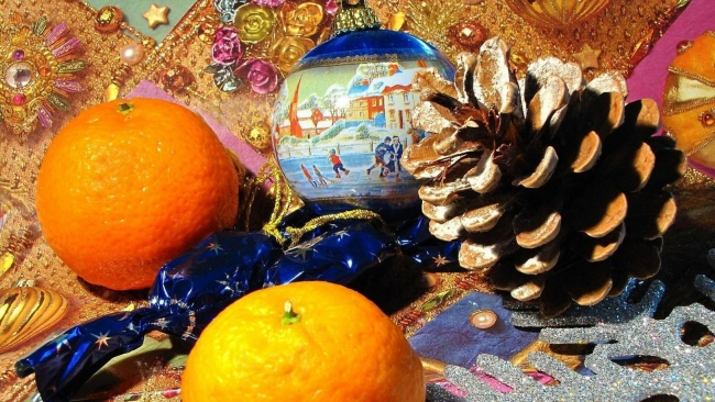 hd hintergrundbilder essen ball taverne mandarinen weihnachten spielzeug feier weihnachten neujahr