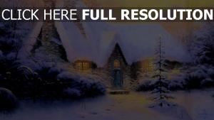 haus schnee neues jahr weihnachten pelz-baum winter stein licht