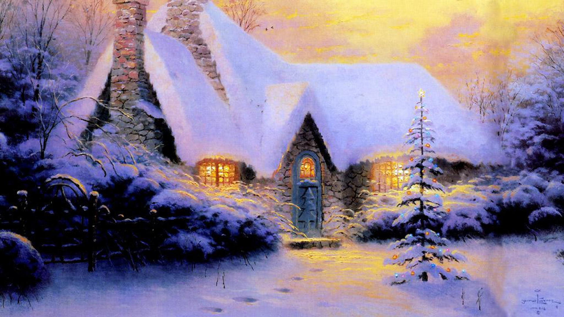 hd hintergrundbilder haus schnee neues jahr weihnachten pelz-baum winter stein licht 1920x1080