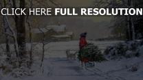 winter menschen schlitten baum malerei haus rauch