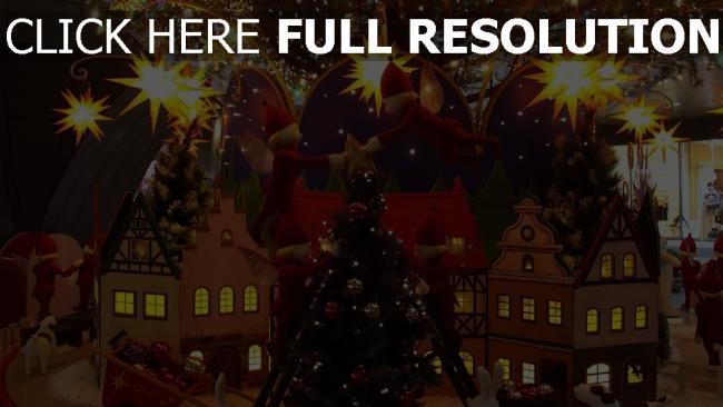 hd hintergrundbilder feiertag elfen weihnachten baum haus weihnachtsschmuck