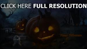 haus nacht halloween kerze katze jack-o-latern kürbis