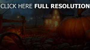 licht jack-o-latern kürbis haus nacht herbst blätter halloween