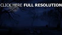 jack-o-latern nacht friedhof mond halloween fledermaus nebel