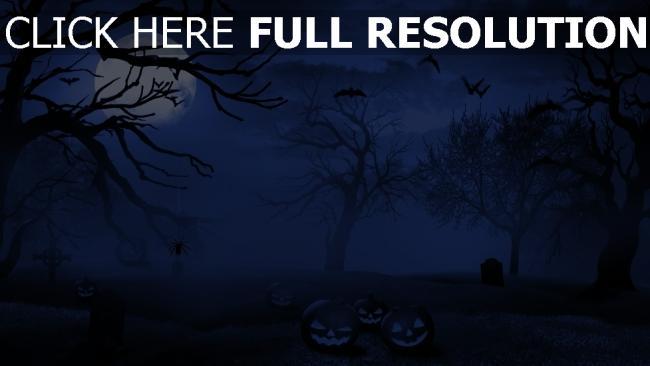 hd hintergrundbilder jack-o-latern nacht friedhof mond halloween fledermaus nebel