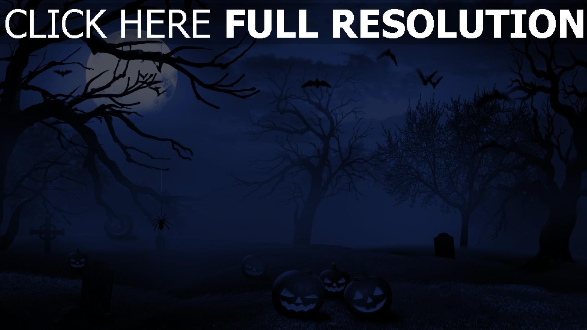 HD Hintergrundbilder Jack O Latern Nacht Friedhof Mond