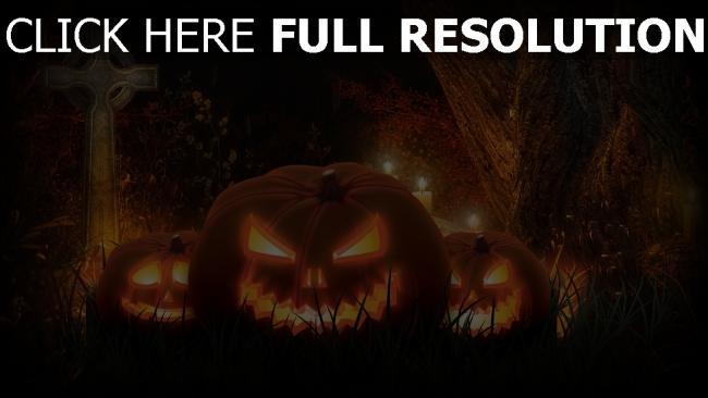 hd hintergrundbilder gras jack-o-latern kreuz halloween