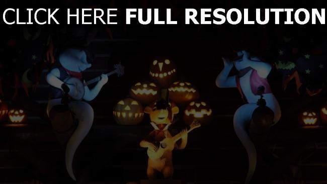 hd hintergrundbilder halloween gitarre geister kürbisse musik