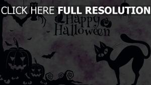 minimalismus spinne jack-o-latern eule halloween katze