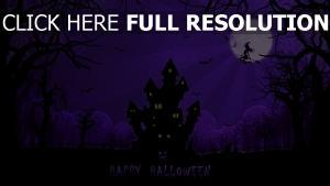 mond spinngewebe haus halloween hexe nacht