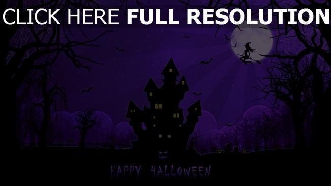 hd hintergrundbilder mond spinngewebe haus halloween hexe nacht
