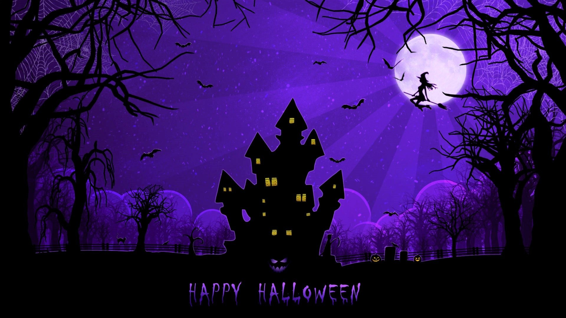 hd hintergrundbilder mond spinngewebe haus halloween hexe nacht 1920x1080