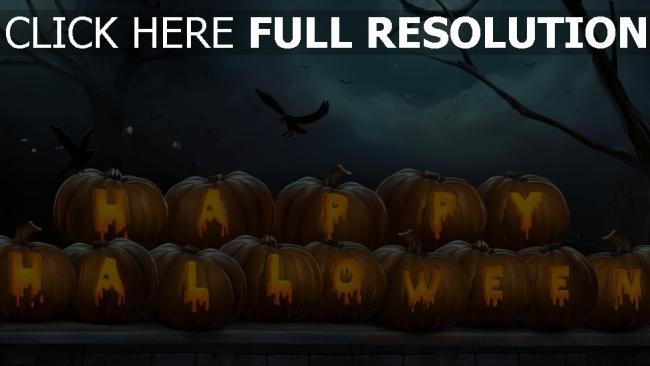 hd hintergrundbilder halloween krähe inschrift kürbis