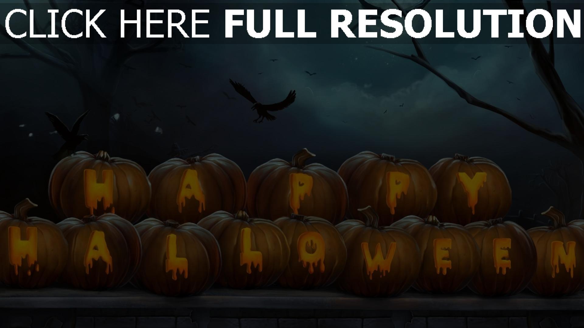 hd hintergrundbilder halloween krähe inschrift kürbis 1920x1080