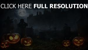 nebel jack-o-lantern friedhof haus halloween mond