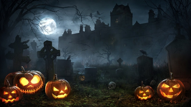 hd hintergrundbilder nebel jack-o-lantern friedhof haus halloween mond