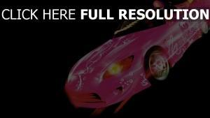 zu schnell zu wild honda auto rosa