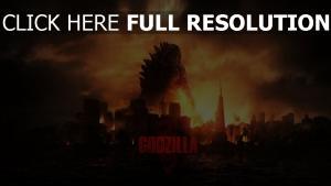 godzilla monster stadt feuer