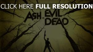 holz ash vs evil dead waffen inschrift ein mann