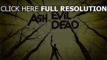 mann inschrift wald waffen ash vs evil dead