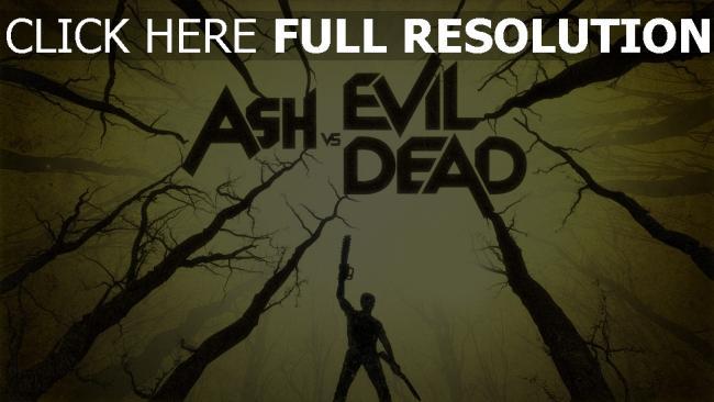 hd hintergrundbilder mann inschrift wald waffen ash vs evil dead
