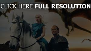 drachen jorah mormont game of thrones iain glen daenerys targaryen emilia clarke