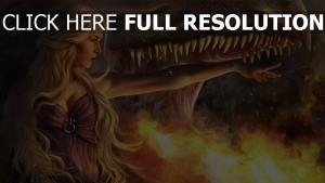 drachen game of thrones blond daenerys targaryen flamme kiefer mädel