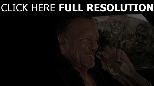 hd hintergrundbilder michael rooker zombie lachen the walking dead flasche merle dixon