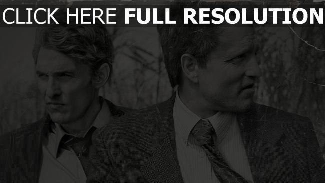 hd hintergrundbilder matthew mcconaughey schwarz-weiß woody harrelson true detective