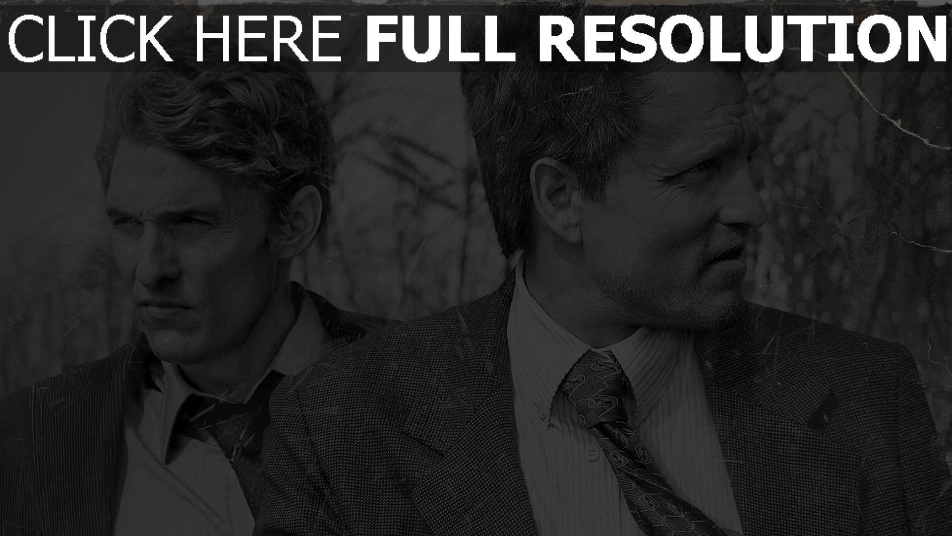 hd hintergrundbilder matthew mcconaughey schwarz-weiß woody harrelson true detective 1920x1080