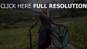 schwert historisches drama lathgertha schild tv-serie vikings katheryn winnick natur