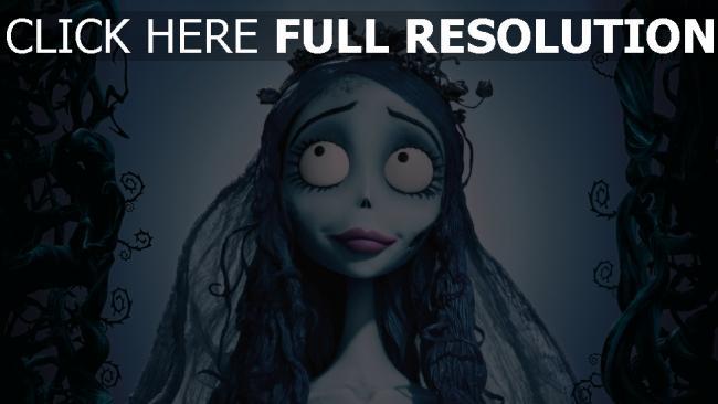 hd hintergrundbilder corpse bride lächeln emily mädel braut gesicht