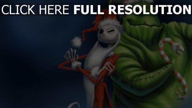 hd hintergrundbilder weihnachten weihnachtsmann oogie boogie jack skellington nightmare before christmas malerei