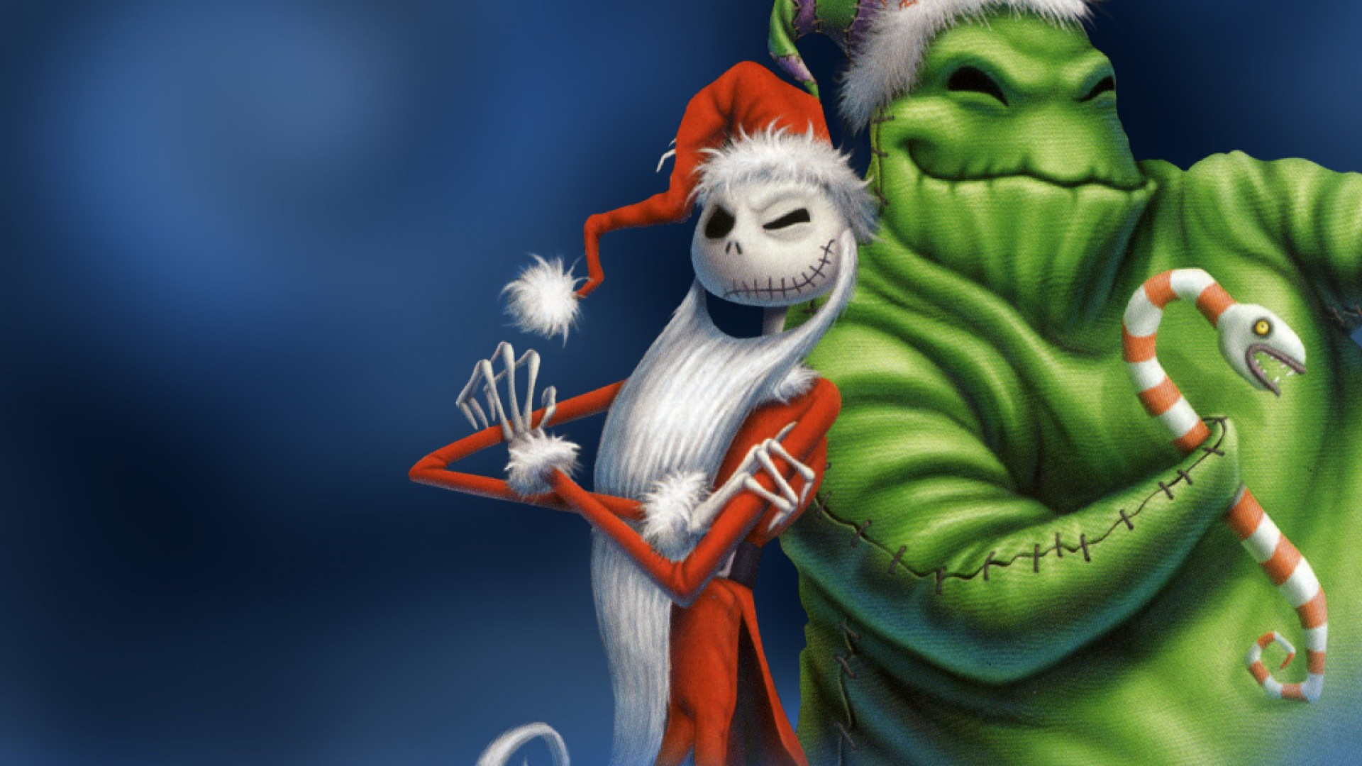 hd hintergrundbilder weihnachten weihnachtsmann oogie boogie jack skellington nightmare before christmas malerei 1920x1080