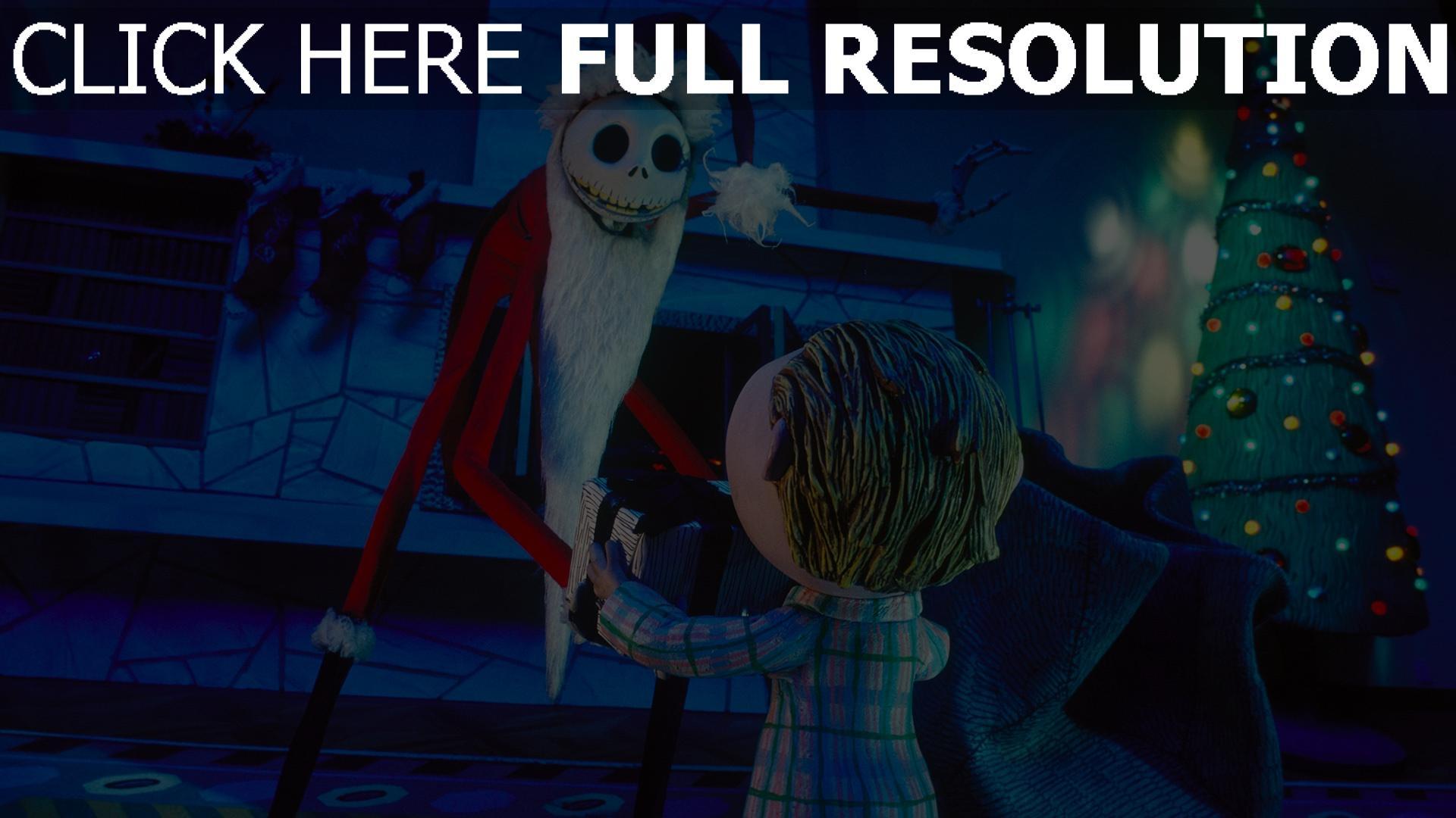 hd hintergrundbilder weihnachten geschenk jack skellington nightmare before christmas weihnachtsmann 1920x1080