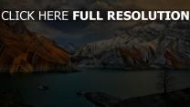 iran landschaft berge felsen schnee wolken fluss