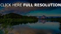 see spiegelung wald himmel wolken berge