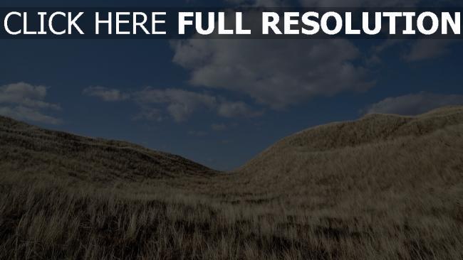 hd hintergrundbilder gras hügel himmel blau wolke