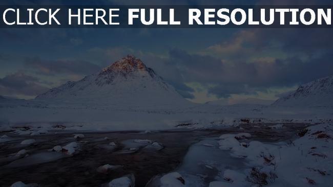 hd hintergrundbilder eis schnee winter berge flüsse wolken