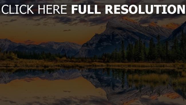 hd hintergrundbilder berge see wasser spiegelung wald himmel schön