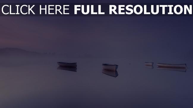 hd hintergrundbilder nebel see boote ruhig dunst