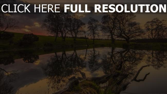 hd hintergrundbilder see ufer bäume himmel reflexion wasser
